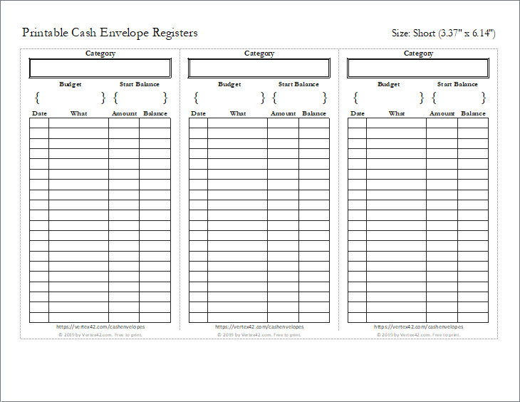Preview of the Short Cash Envelope Register (3 per page)