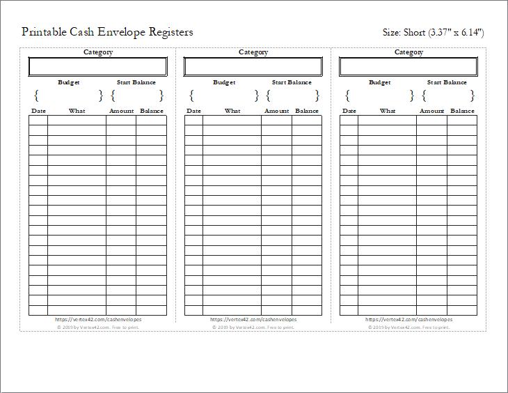 Preview of the Short Cash Envelope Register (3 per page)
