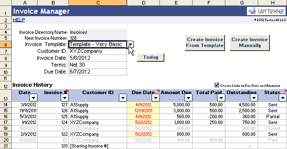 Vertex Invoice Assistant Invoice Manager For Excel - Create billing invoice