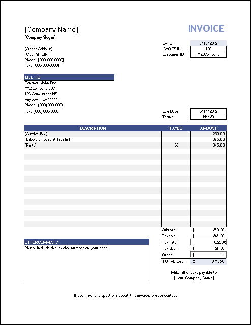 Ms Excel Invoice Template Insssrenterprisesco - Templates for invoices free excel