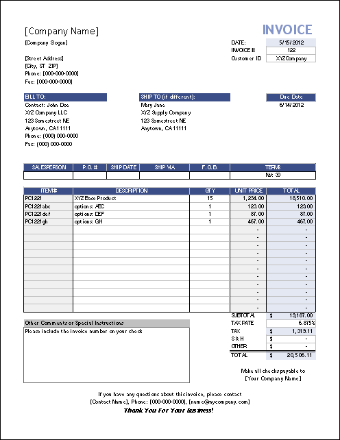 invoice template in excel 2007