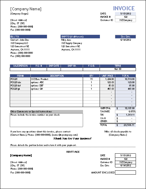 Superb Template #4: Sales Invoice With Remittance On Draft Invoice Template