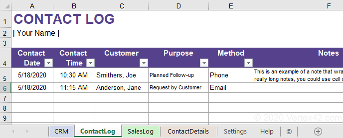 Excel Contact Database Template from www.vertex42.com