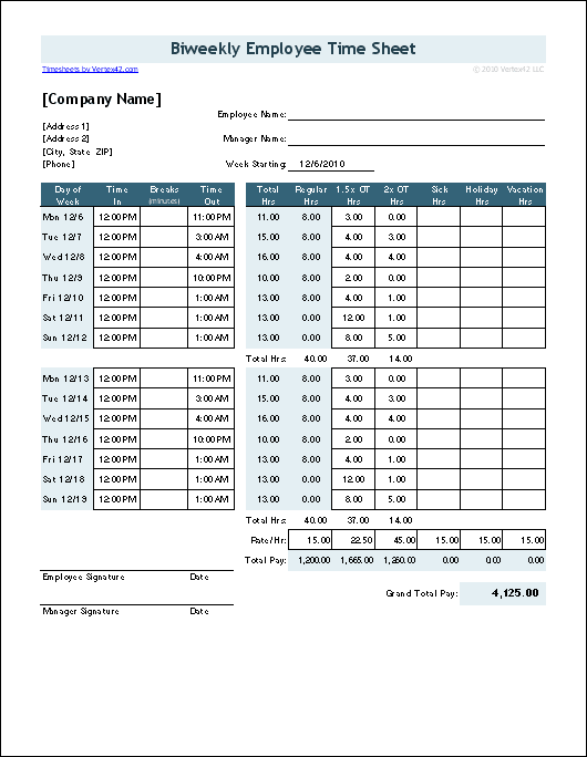Time Sheet Template for Excel Timesheet Calculator – Sample Blank Timesheet