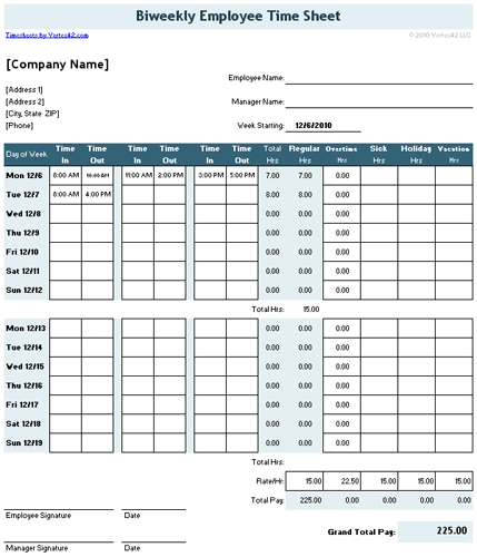 Time Sheet Template for Excel Timesheet Calculator – Sample Payroll Timesheet Calculator