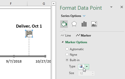 Change a Data Point Marker in a Project Timeline