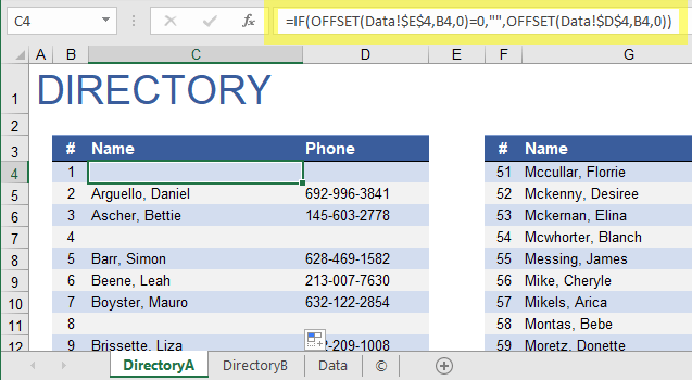 Phone Directory Showing Blanks When Filtered