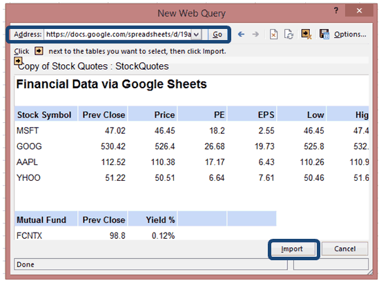 create excel stock quotes web query
