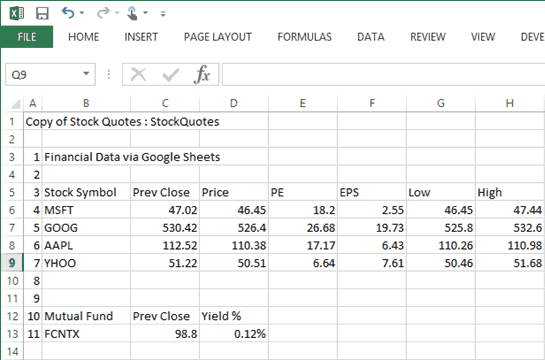 Google Stock Quotes Unique Free Stock Quotes In Excel