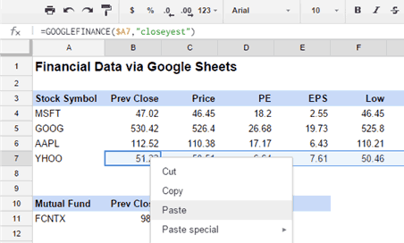 Free Stock Quotes in Excel