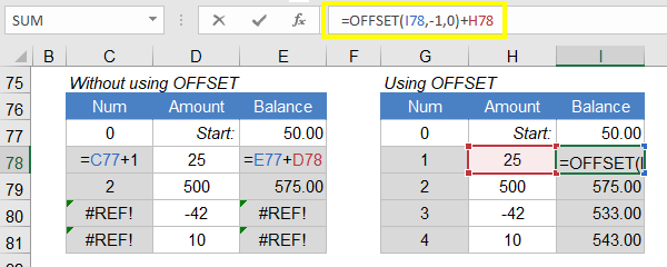 OFFSET for Robust Running Balance and Count