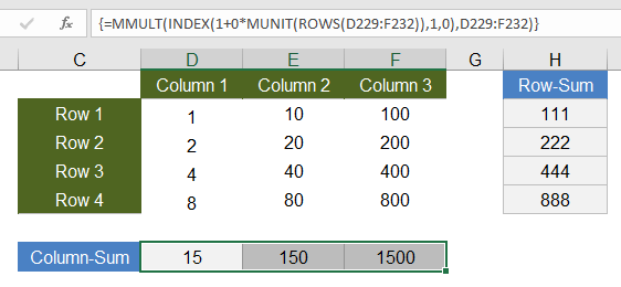 Row and Column Sums Using Array Formulas