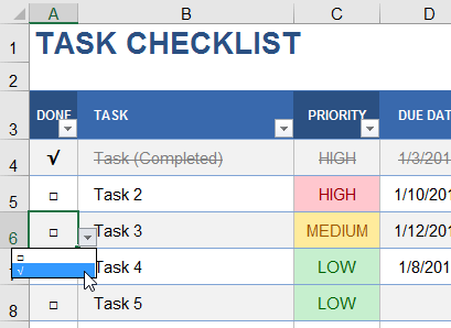 Checkbox Using Data Validation