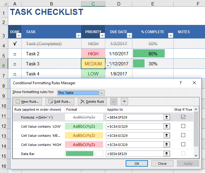Conditional Formatting Rule Order for Task Checklist