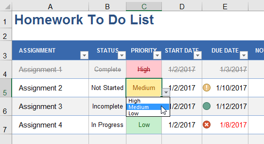 things to do list template excel - add cool features to your to do lists in excel