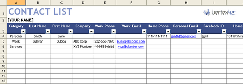 Contact List Template Screenshot