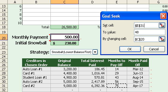 SETUP: Using Goal Seek to Calculate the Monthly Payment
