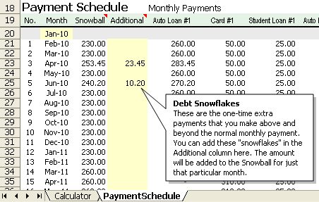 Debt Snowflakes in the Debt Reduction Calculator