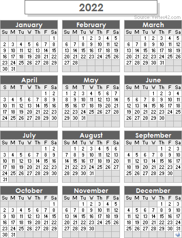 2022 One Page Calendar.2022 Calendar Templates And Images