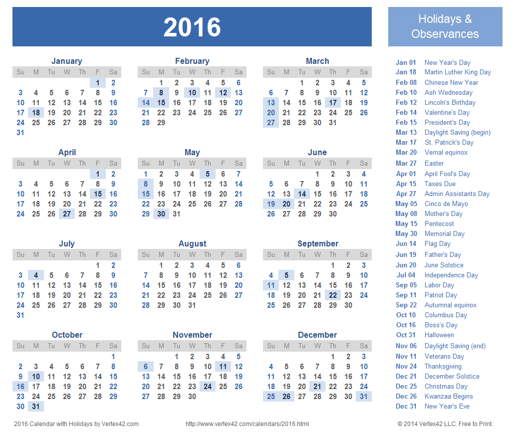 Printable 2016 Holiday Calendar