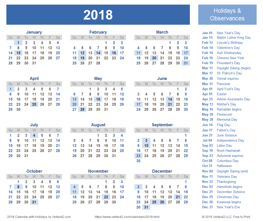 Printable 2018 Holiday Calendar