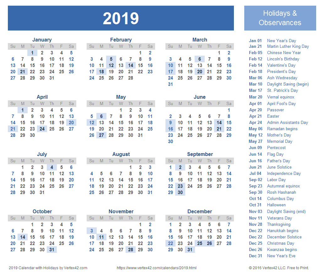 2019 Calendar with Holidays