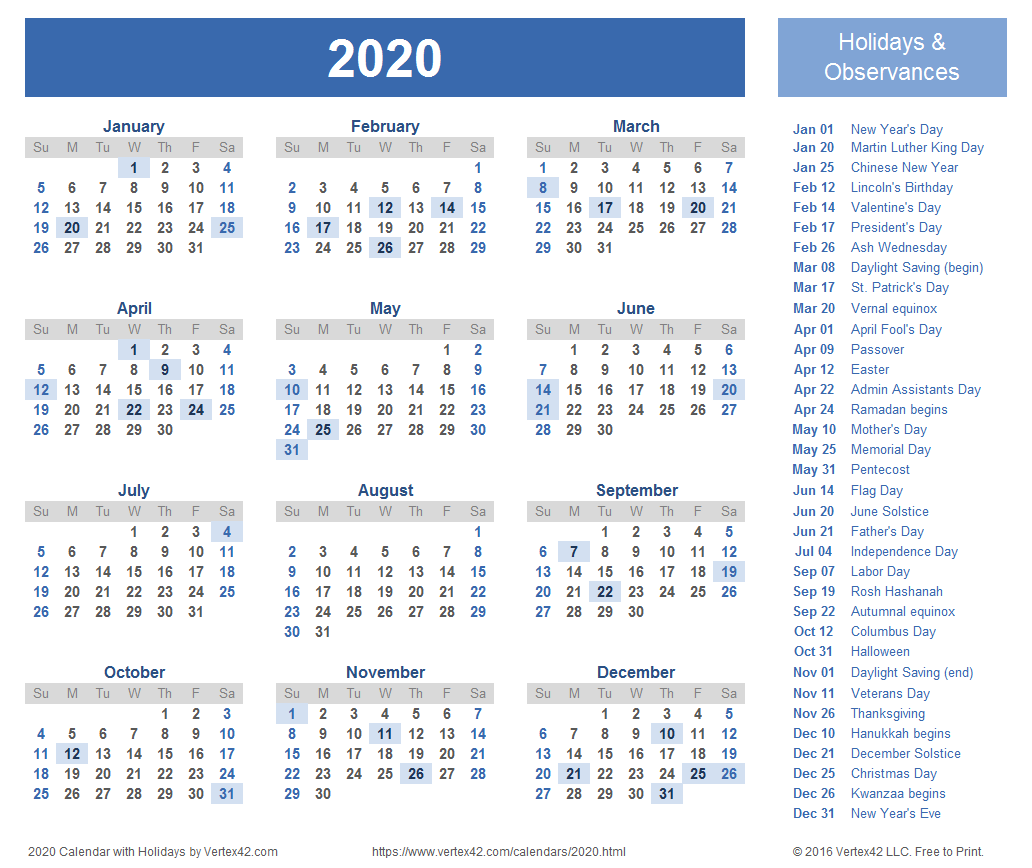 Printable 2020 Holiday Calendar
