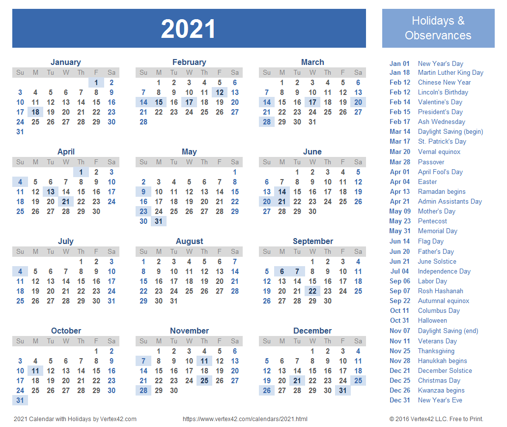 Calendar 2021 Holidays List 2021 Calendar Templates and Images