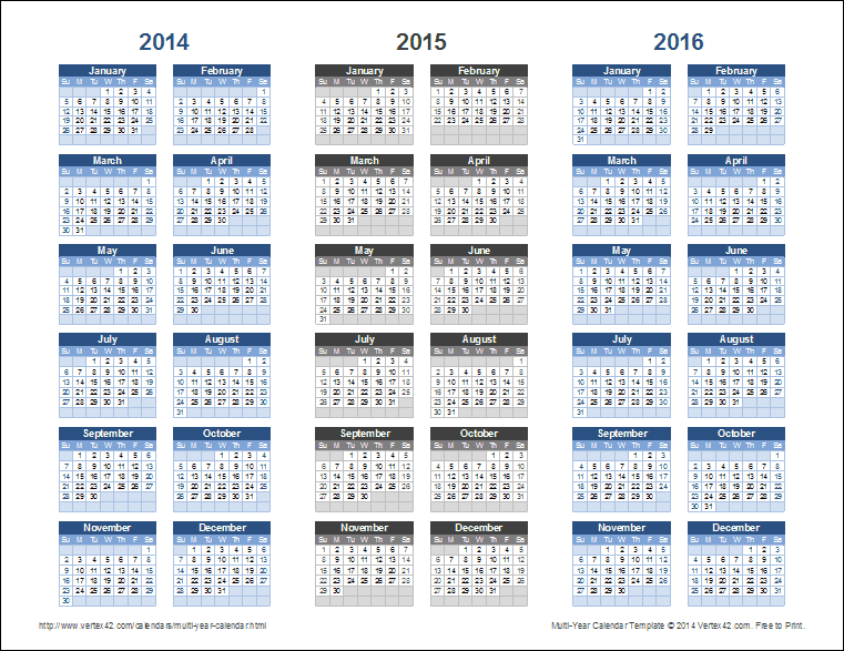 Calendar By Year : Year calendar template for excel